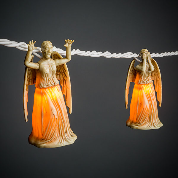 a string of doctor who weeping angel lights that repeatedly blink at one another