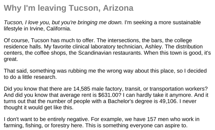 Why I'm Leaving Tucson randomly generated essay