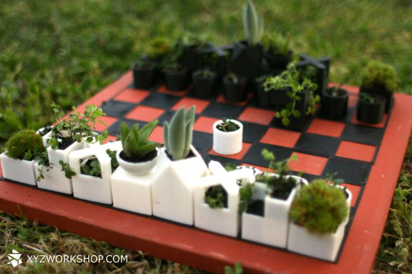 3D-Printed Chess Set Planters Set Up