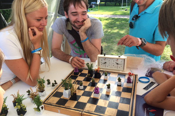 3D-Printed Chess Set Planters in Play