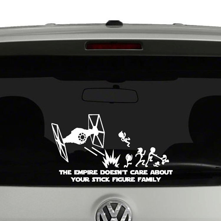 Star wars vinyl car stickers featuring tie fighters blasting the classic stick figure family into oblivion