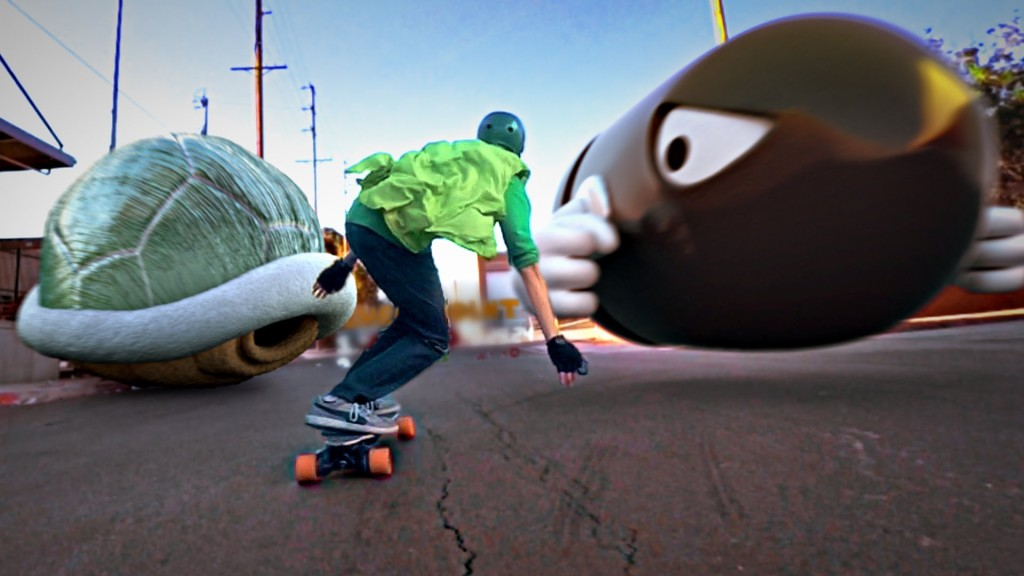 Luigi Skates Through a Dangerous City on an Electric Longboard in a Live-Action 'Mario Kart' Short