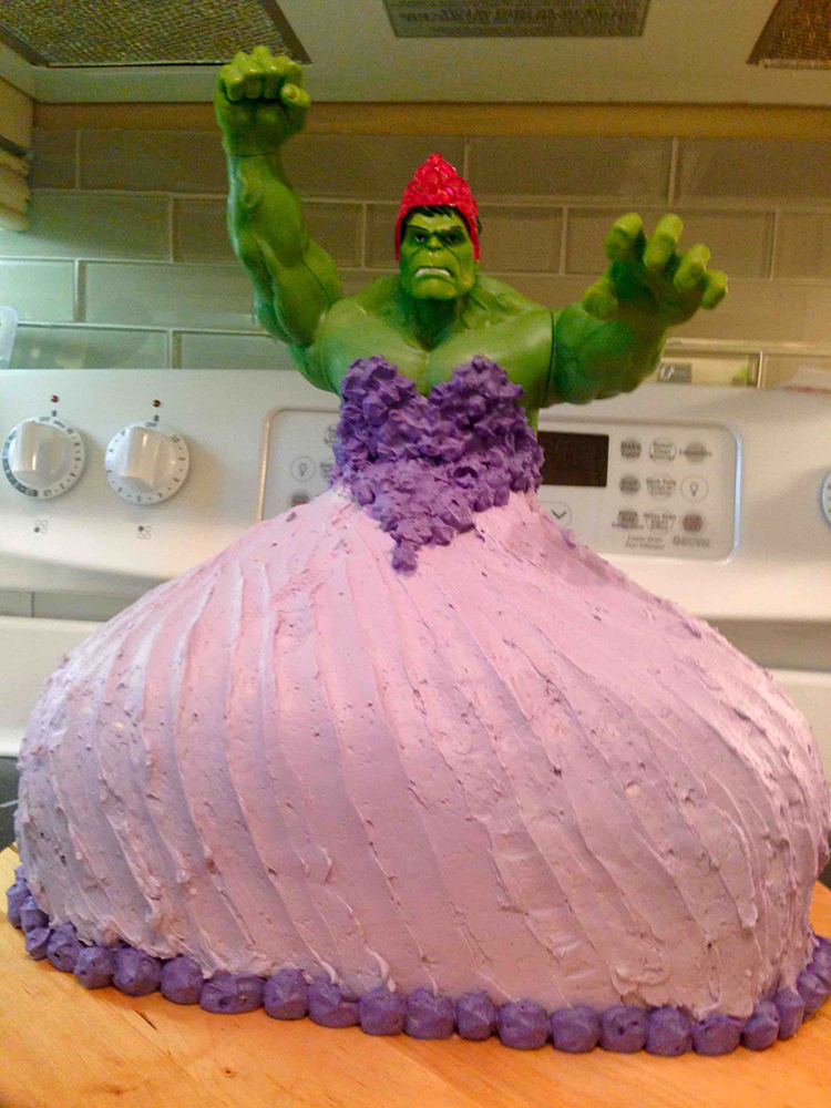 Creative Mom Makes A Hulk Princess Cake For Her Twin Daughters Birthday