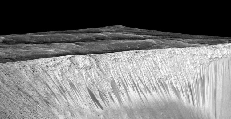 Dark Streaks Indicating Water on Mars