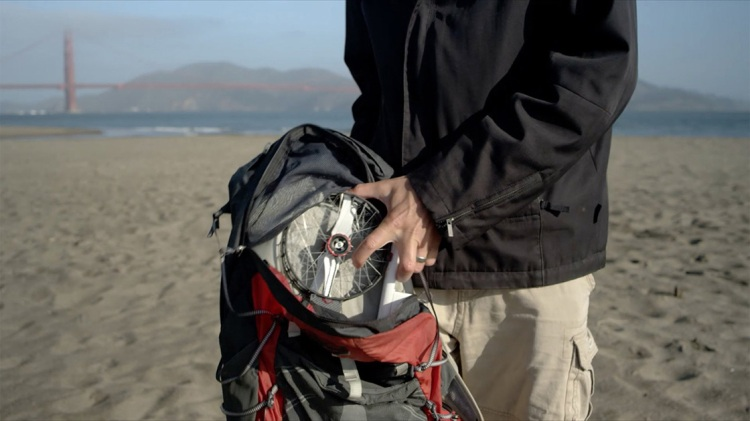 Snap Camera Drone in a backpack