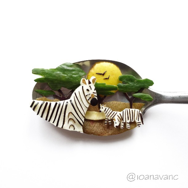Spoon Art Zebras