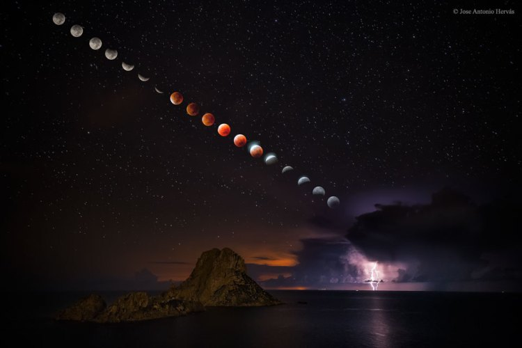 Supermoon and lightning storm composite image
