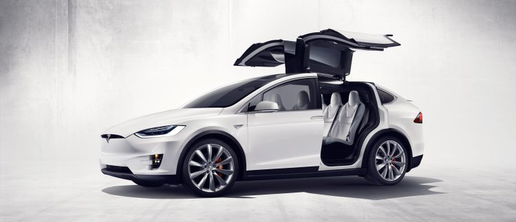 Tesla Model X Falcon Wings Open