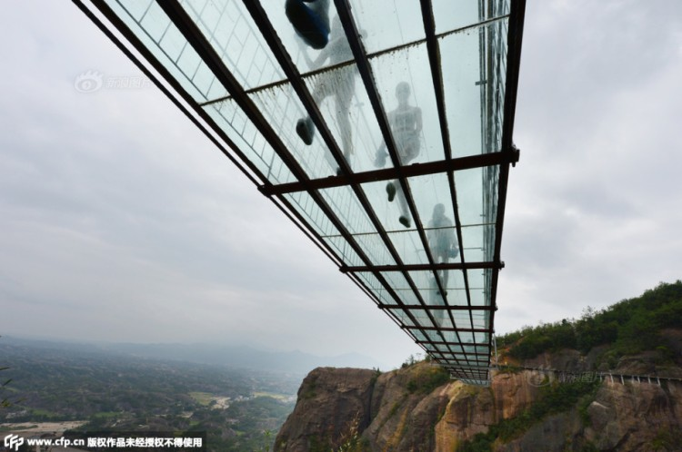 Underneath Glass Suspension Bridge