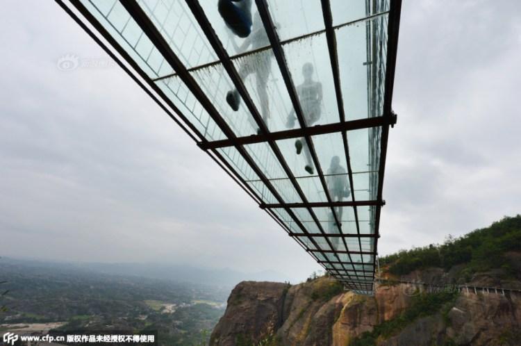 Underneath Glass Suspension Bridge