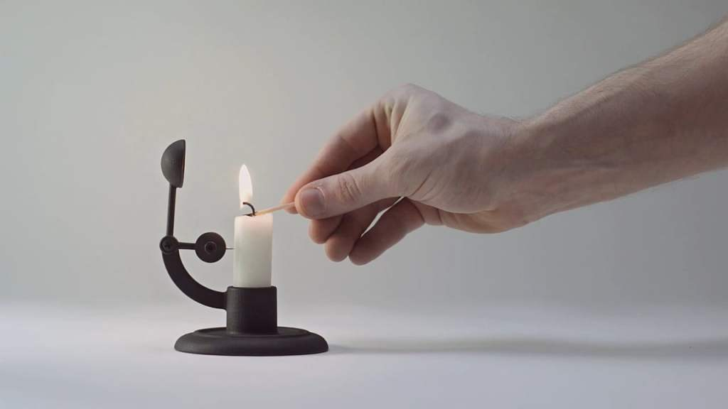 A Cleverly Crafted Candlestick That Extinguishes Itself When the Candle Becomes Too Short