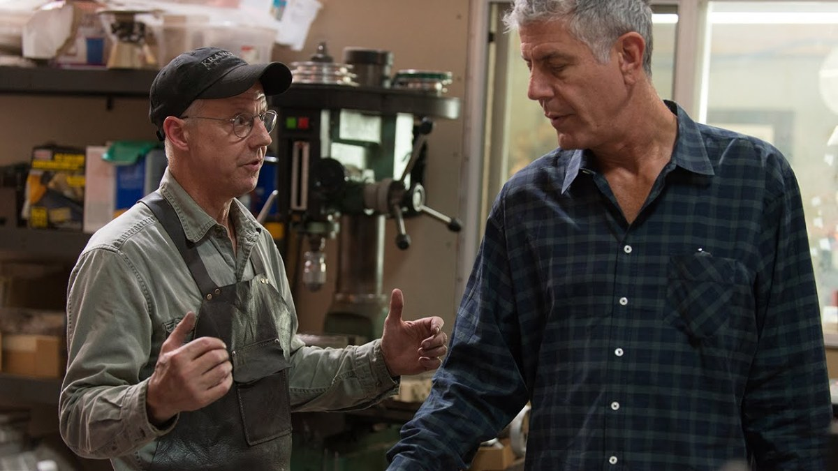 anthony bourdain watches as master bladesmith bob kramer crafts a signature kitchen knife. Black Bedroom Furniture Sets. Home Design Ideas