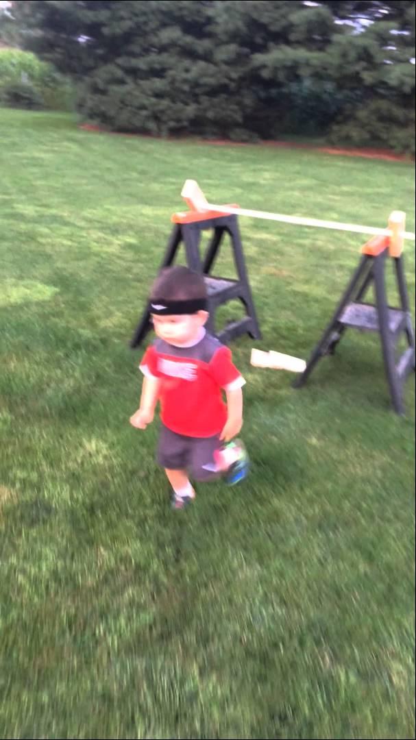 Backyard American Ninja Warrior Obstacle Course :  Completes Backyard ?American Ninja Warrior? Obstacle Course