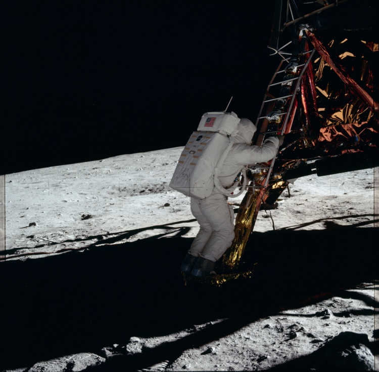 Apollo 11 Astronaut Leaving Lunar Lander