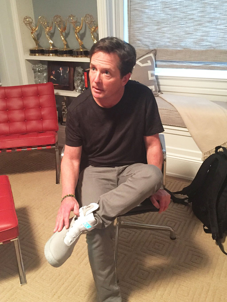 Michael J. Fox Tries on the First Pair of Nike MAG Self-Lacing 'Back to the Future' Shoes