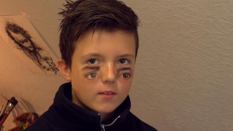 Father and son team up to create an eerie double eye effect with double eye makeup finished publicscrutiny Gallery