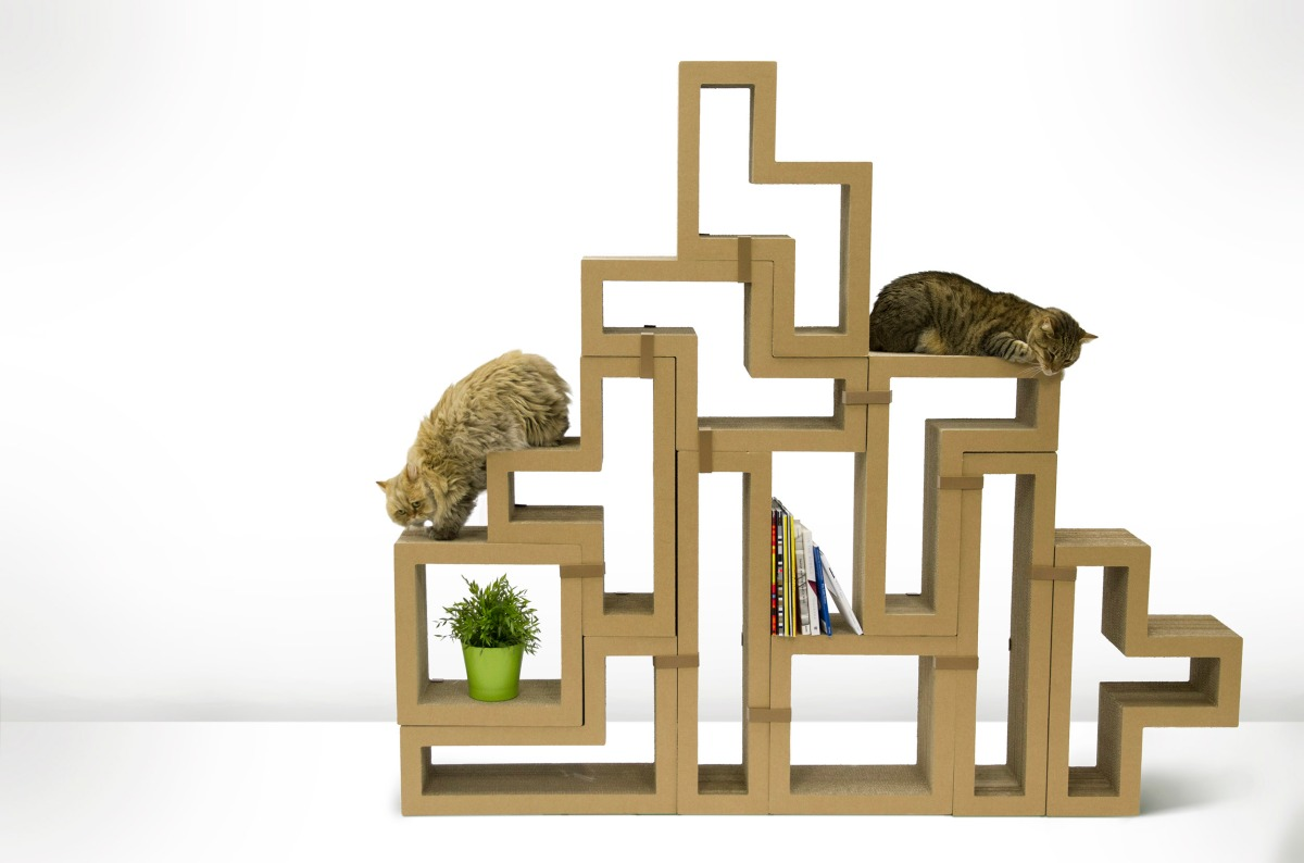 Modular cardboard cat scratching blocks that can be for Functional furniture