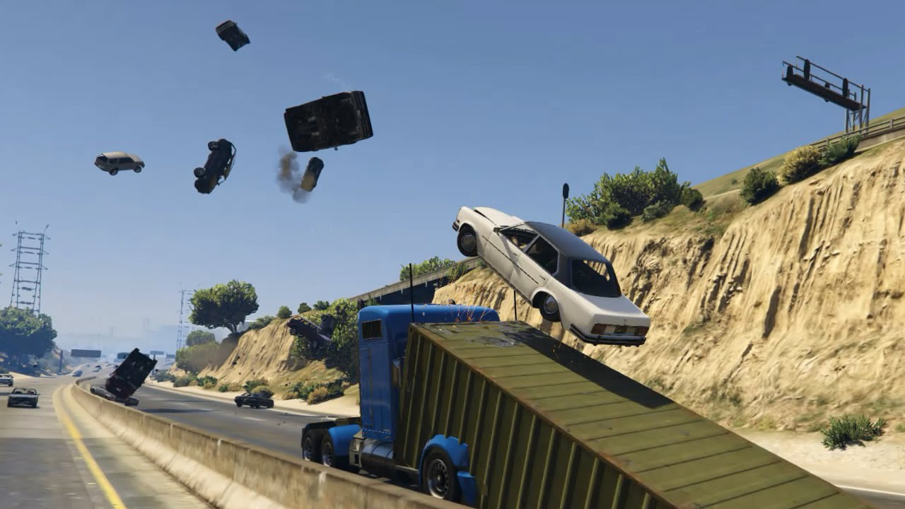 Gamer Uses 'Grand Theft Auto V' Mod to Create an Insane Ramp Truck That Relentlessly Launches Vehicles Into the Air