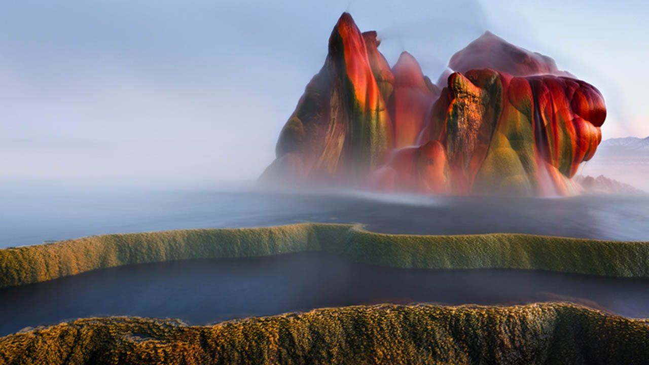 The Stunning Natural Colors of a Man-Made Geyser Sitting on the Edge of Black Rock Desert in Nevada
