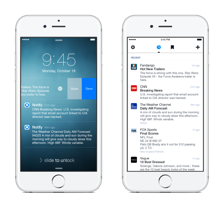 Facebook Notify App Screenshots Headlines