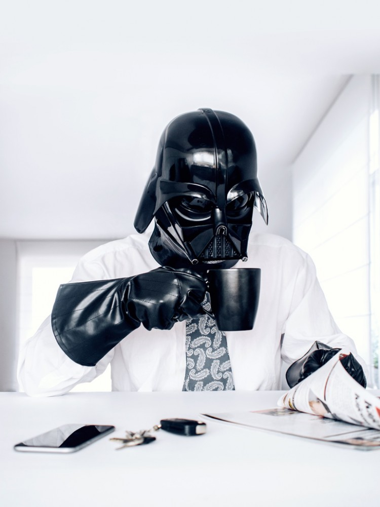 Vader Enjoys Some Coffee