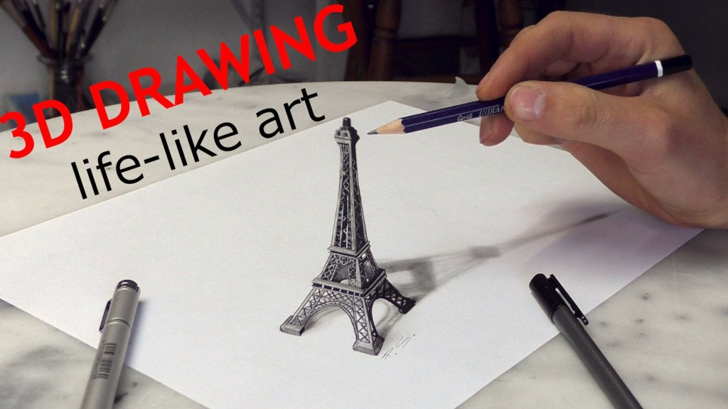 German Artist Stefan Pabst Creates a Beautiful 3D Optical Illusion Drawing of the Eiffel Tower