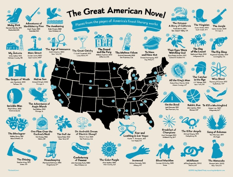 The great american novel a hand drawn us map plotting the the great american novel a hand drawn us map plotting the locations of 42 classic works of fiction gumiabroncs Images