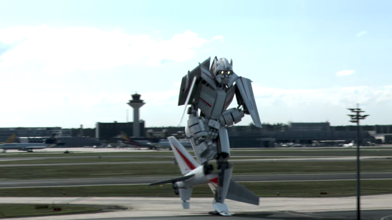 Airplane Turns Into a Transformers Style Robot While Landing at an Airport in Frankfurt, Germany
