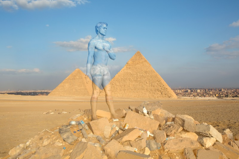 Body Painted Male Model Blends Into the Stunning Scenery of the Modern Wonders of the World