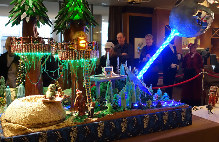 A Giant Star Wars Gingerbread Village on Display at the Sheraton Seattle Hotel