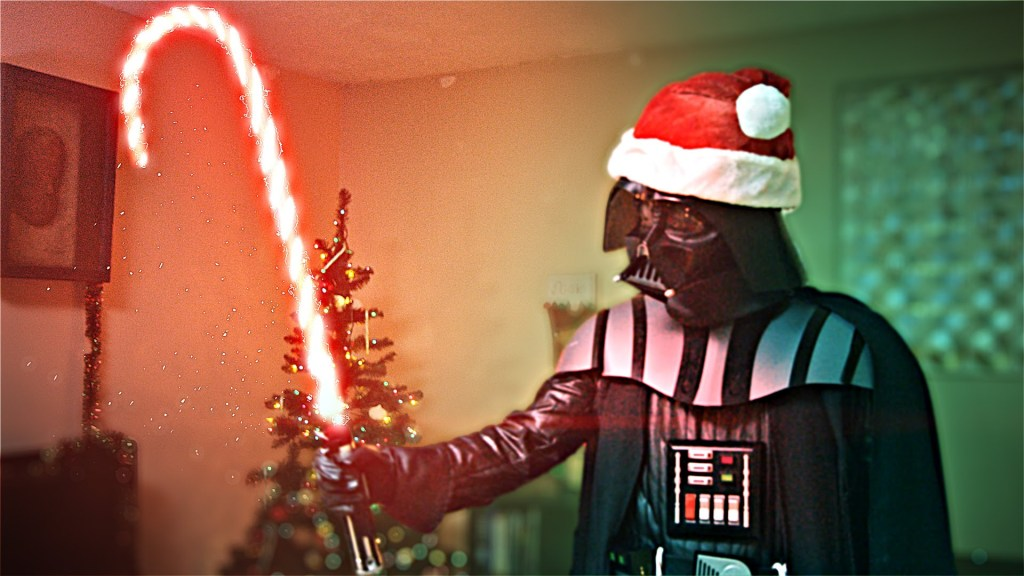 Darth Santa Amuses Himself by Destroying Christmas Presents and a Young Padawan's Heart