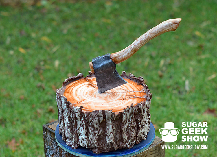 Lumberjack Tree Trunk Cake