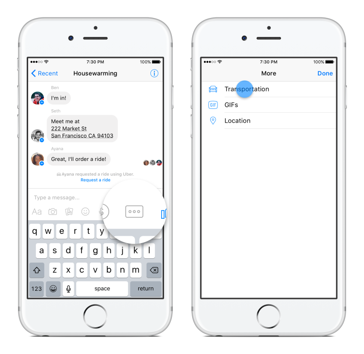 Facebook Messenger More Button