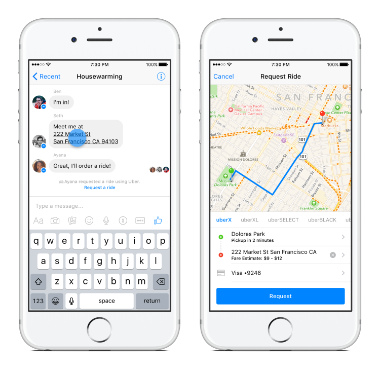 Facebook Messenger Request an Uber Ride