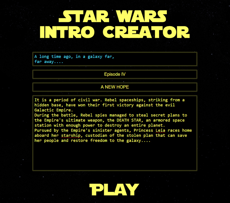 Star Wars Intro Creator, A Website That Lets You Write Your Own Star