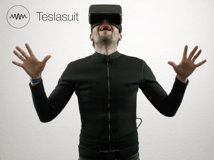 Excited Man in a Teslasuit
