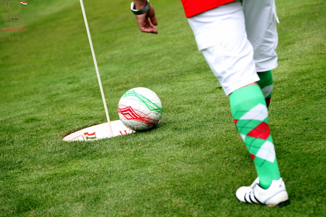 how to footgolf Footgolf is played just like golf in groups up to four people, but with a soccer ball you kick the ball down the fairway of the course to a designated soccer ball-sized hole located away from the golf greens, counting each kick as a 'stroke.