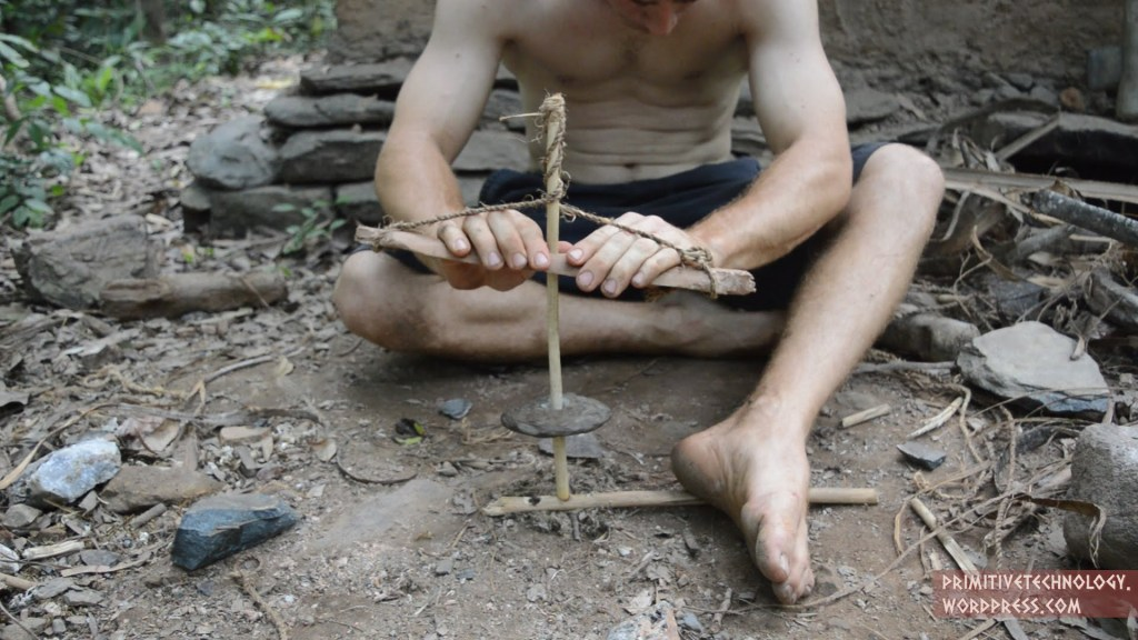 A Demonstration of How to Build a Primitive Cord Drill and Pump Drill From Wood and Stone