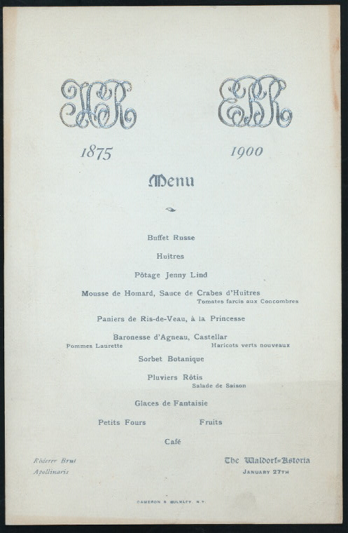"MENU [held by] WALDORF-ASTORIA HOTEL [at] ""NEW YORK, NY"" (HOTEL;)"