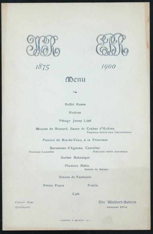 """MENU [held by] WALDORF-ASTORIA HOTEL [at] """"NEW YORK, NY"""" (HOTEL;)"""