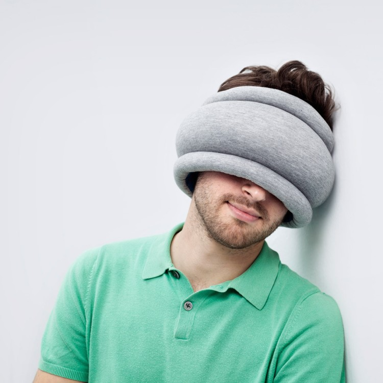 Ostrich Pillow Light Worn as Mask