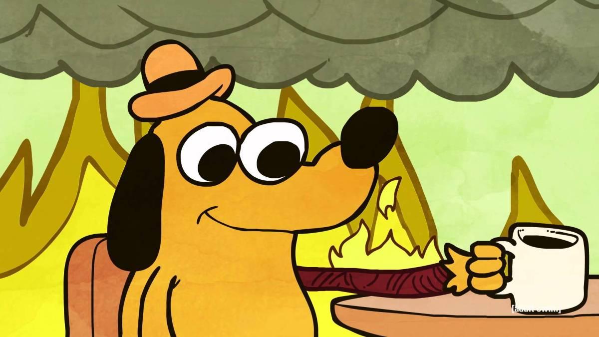 Dog Inside Burning House Cartoon