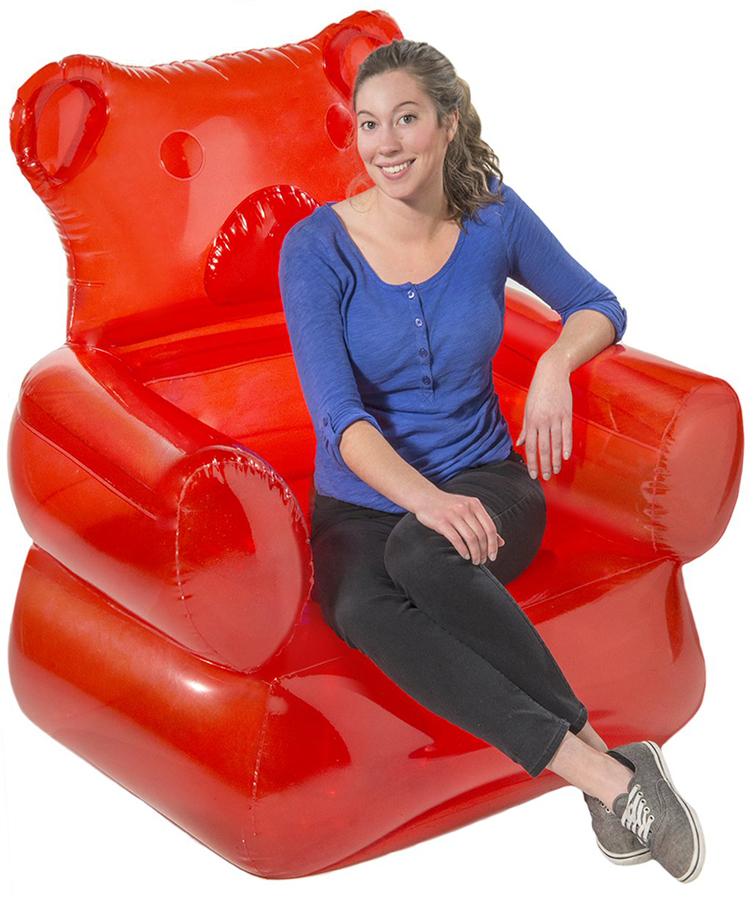 A Giant Inflatable Gummy Bear Lounge Chair