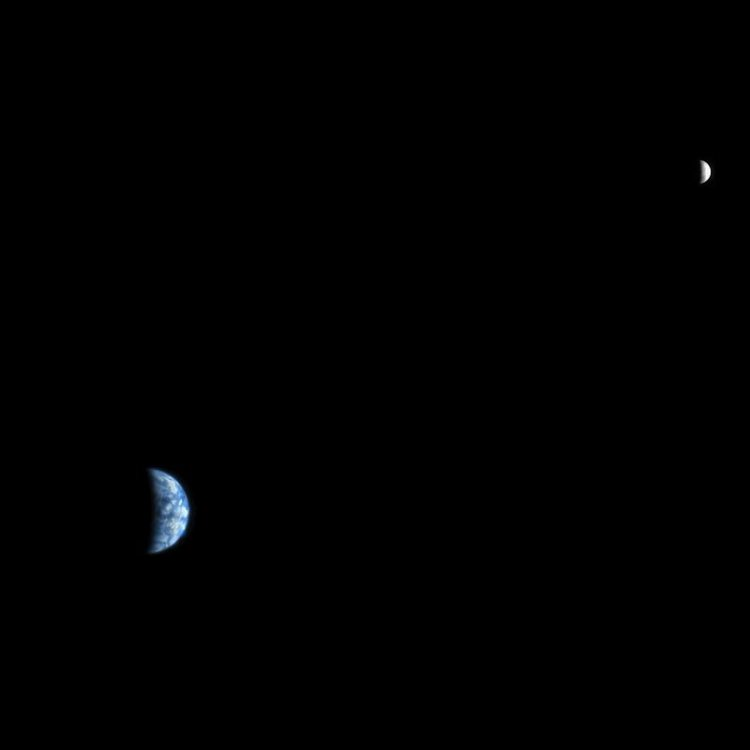 Earth and the Moon From Mars