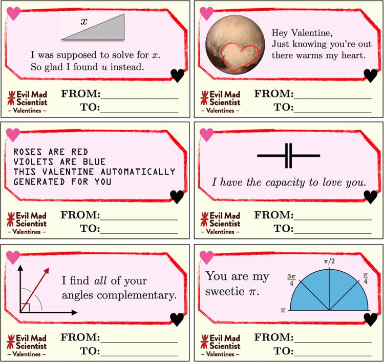 Evil Mad Scientist Valentines Sheet 1