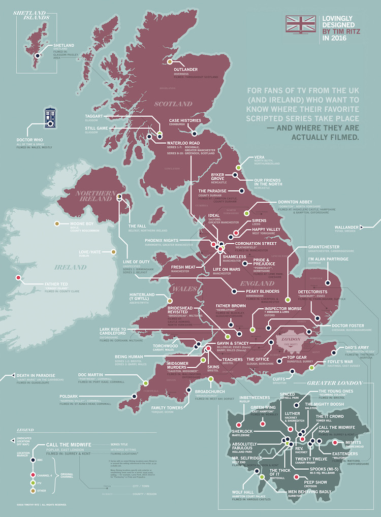 Map Of Uk Detailed.A Detailed Map Showing Where British Tv Series Take Place And Are