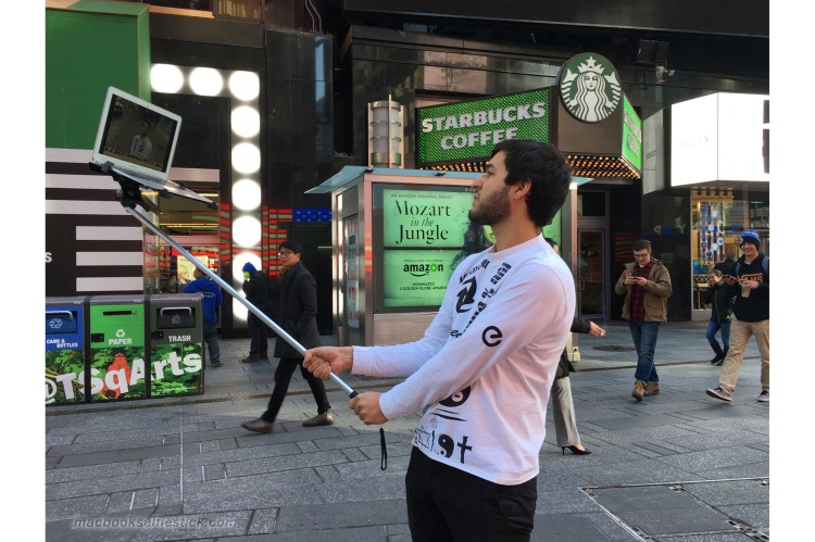 Macbook Selfie Stick Starbucks