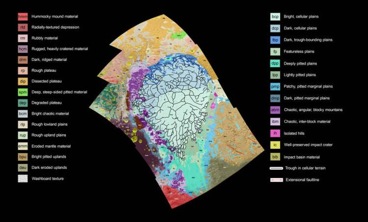 Nasa maps the sputnik planum region of pluto with a colorful key to pluto map color coded gumiabroncs Image collections