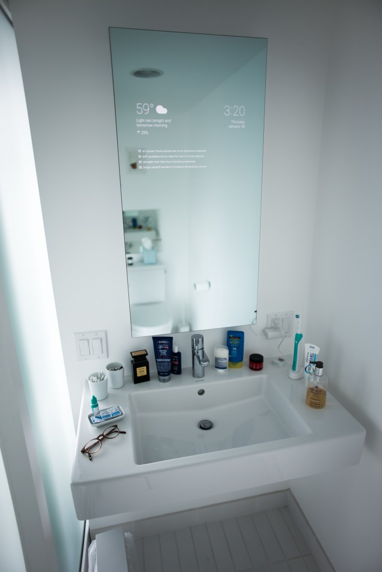 an android powered smart bathroom mirror that gives