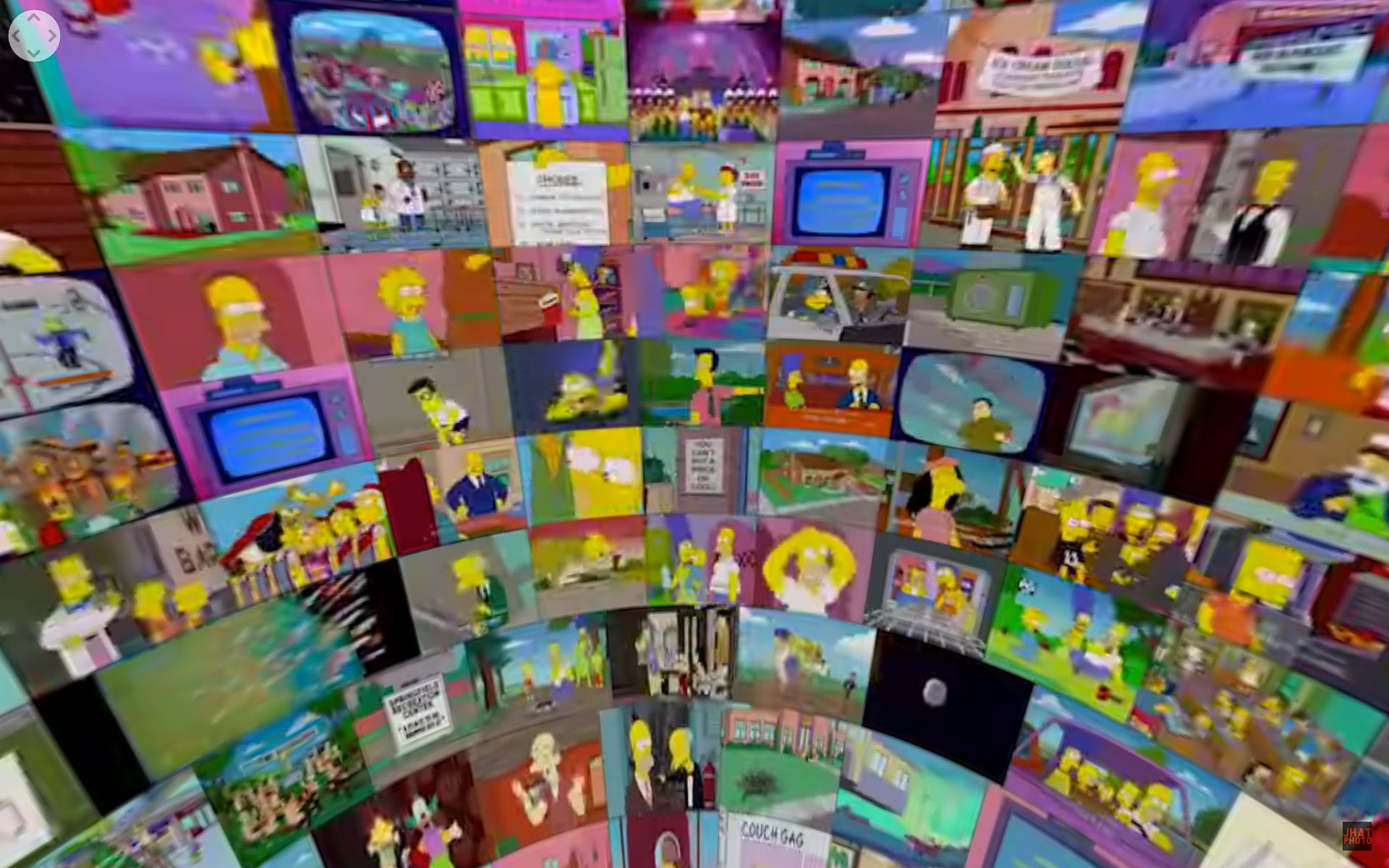 An Interactive 360 Degree YouTube Video Featuring 500 Episodes of The Simpsons All Playing at Once